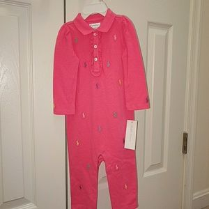 Ralph Lauren 9 Mo Preppy Pink Pique Body Suit